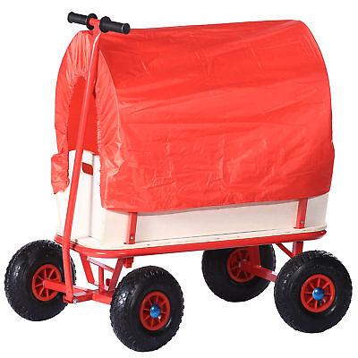 Stabiler Handwagen Bollerwagen Plane Holz Transportwagen Wagen Rot Regendach