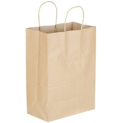 250 Natural Brown Kraft Paper Shopping Bags With Handle Small 9 1116 X 5 12