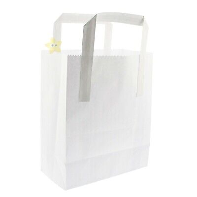 100 SMALL WHITE KRAFT SOS TAKEAWAY PAPER CARRIER BAGS