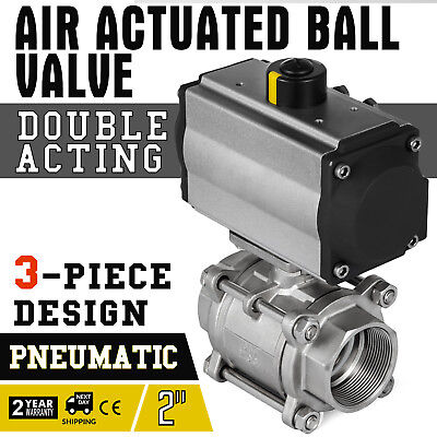2in 3-piece Pneumatic Actuated SS Ball Valve Double Acting Air -