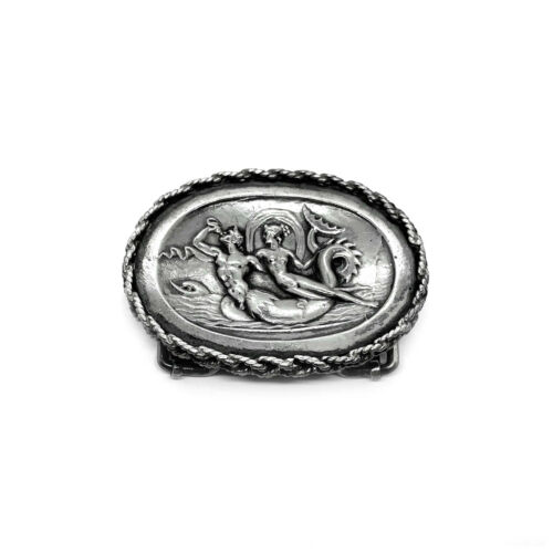 Antique c1890 GORHAM Victorian Sterling Buckle TRITON & NYMPH Greek Mythological