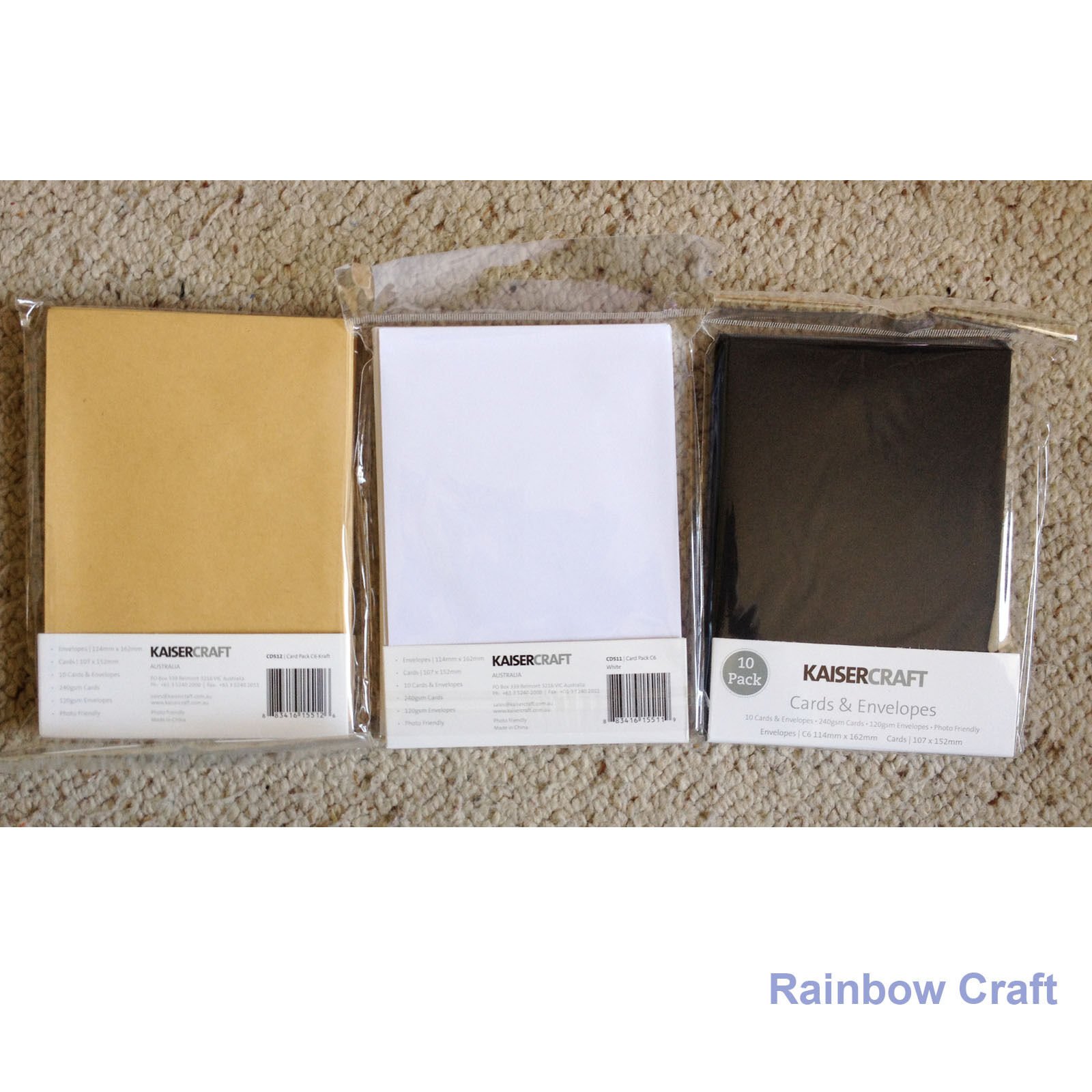 Kaisercraft 10 blank Cards and Envelopes 240gsm 107 *155 mm (3 colors selection)