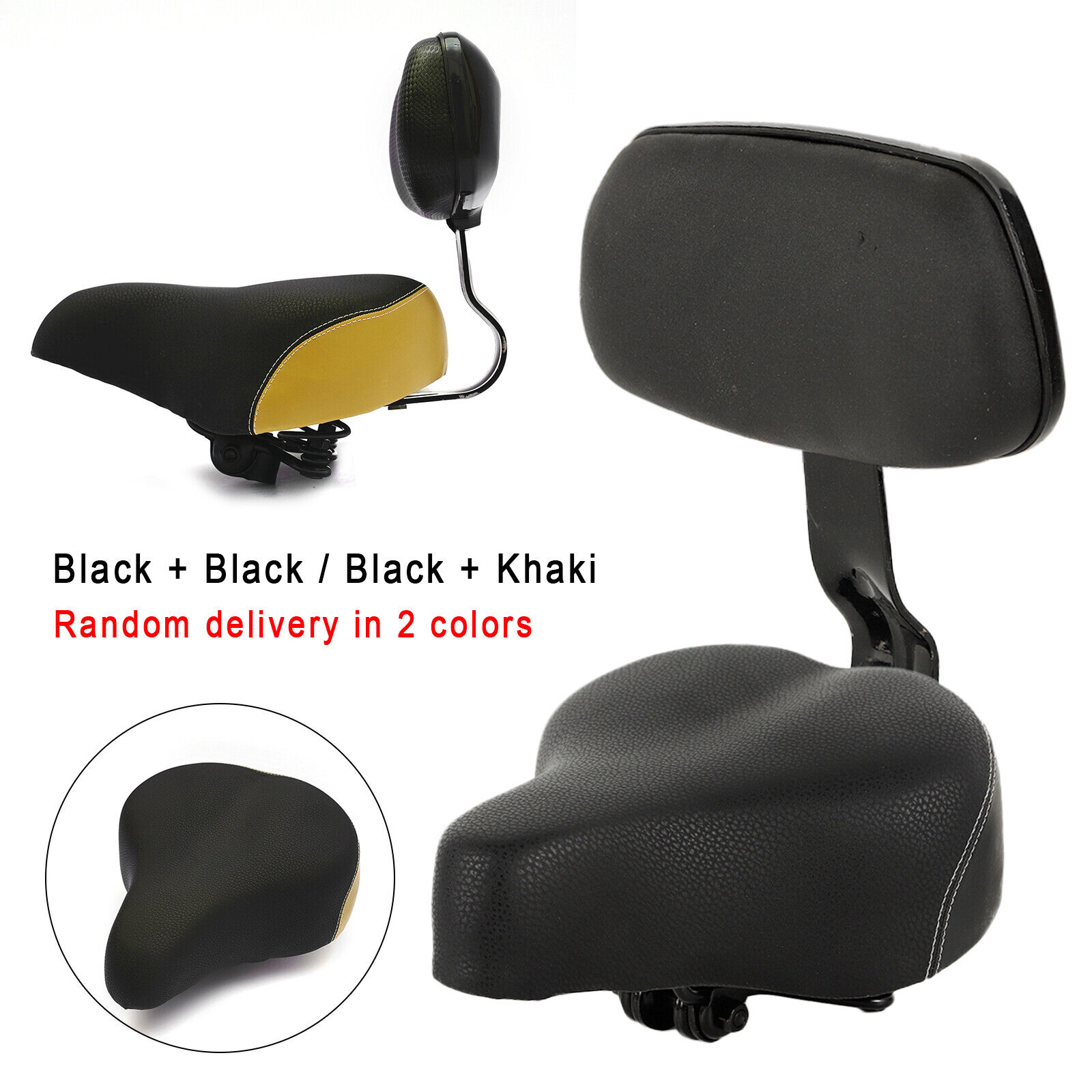 Wide PU Electric Vehicle Bicycle Tricycle Saddle Seat Pad and Back Rest Black