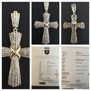 14k gold cross pendant with over 6 ct diamond appraised