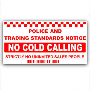 No Cold Calling/Salesman Callers Window/Door Sticker Sign - Smaller Item