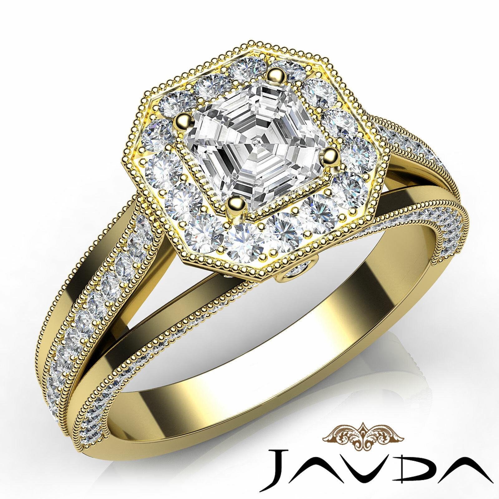 Asscher Diamond Engagement Halo Pave Set Ring GIA G VVS2 18k Yellow Gold 1.4Ct