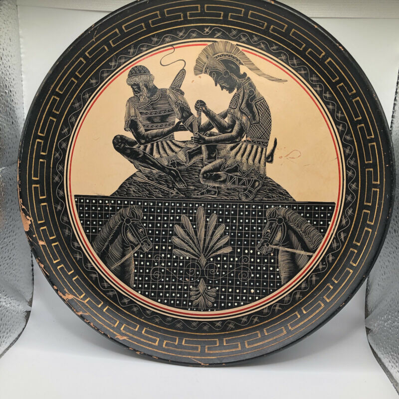 Vintage Greece Red Figure Pottery Hand Carved Achilles and Patroclus Plate AS IS