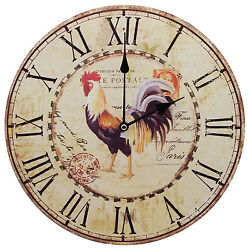 13 Rooster Roman Numeral Clock with French Country Rustic Prints Home Decor Art