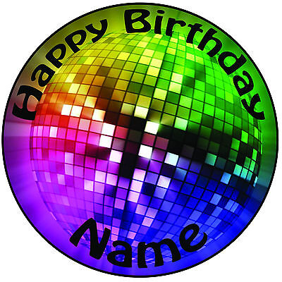 Disco Ball Cake Topper (Personalised Birthday Disco Ball Icing Cake Topper Round Easy Pre-cut 8