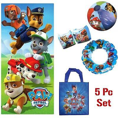 Paw Patrol 6pc Beach Pool Set: Towel, Tote Bag, Toys