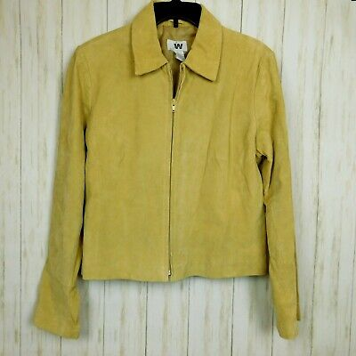 Woman Leather Suede Jacket Large Tan Junction West