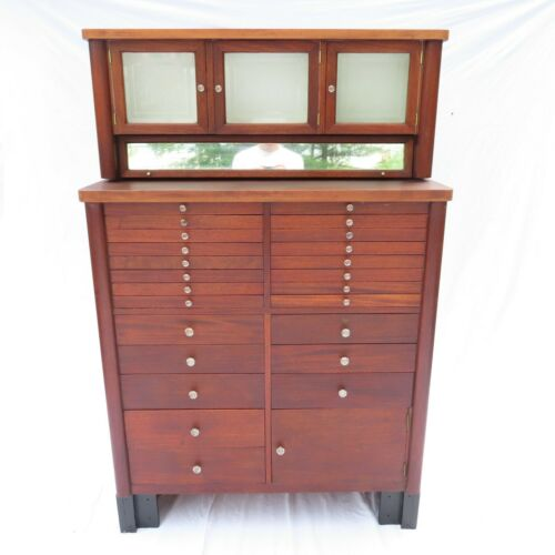 Rare Antique Dental Cabinet The Harvard Co Dentist Medical Curiosities Mahogany