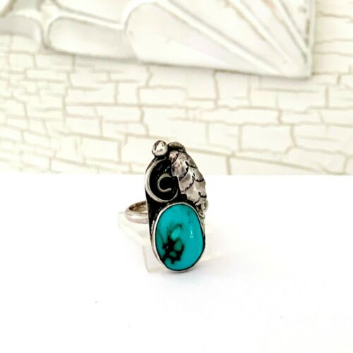 Navajo Sterling Silver Feather Native American Turquoise Handmade Size 6.5 Ring