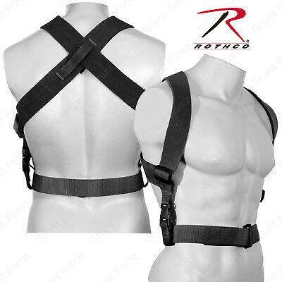 "Rothco Black Combat Suspenders - 2"" Wide Adjustable X-Back Suspenders"