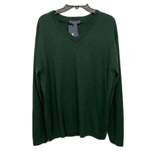 $99 Hart Schaffner Marx V-Neck L/S Sweater 2XT 2XLT Spruce Green Merino Wool Clothing, Shoes & Accessories
