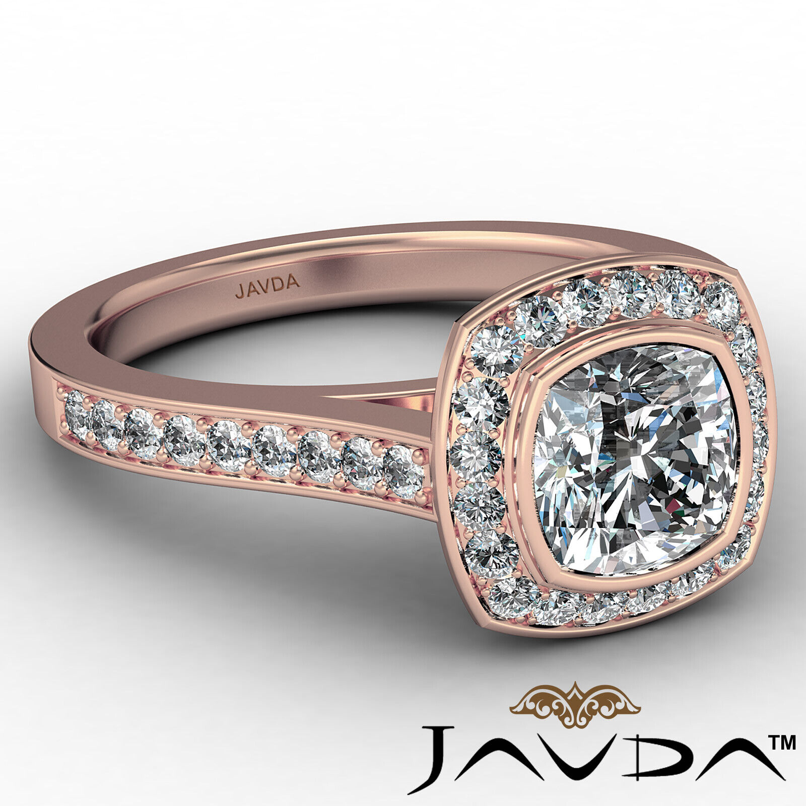 Micro Halo Cushion Diamond Engagement Ring GIA H Color & VS1 clarity 1.4 ctw 8