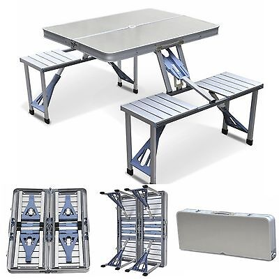 Aluminum  Folding Camping Picnic Table With 4 Seats Portable Set Outdoor Garden