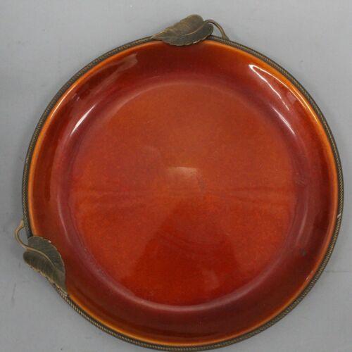 Evans Elegance Hand-Enameled Orange Brass Leaves Dish Tray