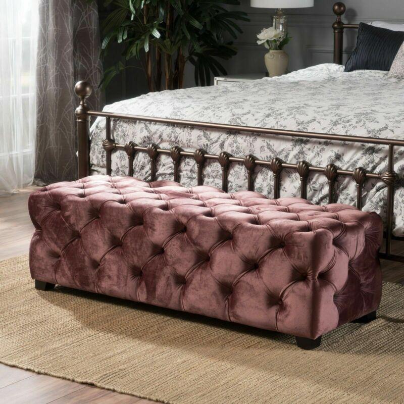 Provence Button Tufted Velvet Rectangle Ottoman Bench