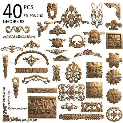 3d Stl Model Cnc Router Artcam Aspire 40 Pcs Decor Collection Pack 3
