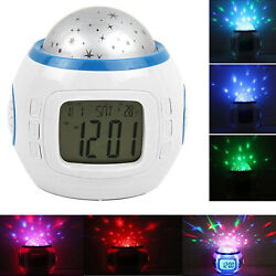 Star Sky Projection Alarm Clock Led Clock Calendar Thermometer for Kids Boy Girl