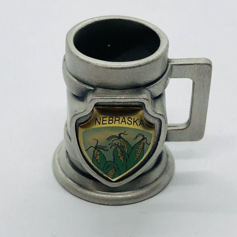 Nebraska Souvenir State Pewter Tankard Stein Mug Style Thimble w/ Corn