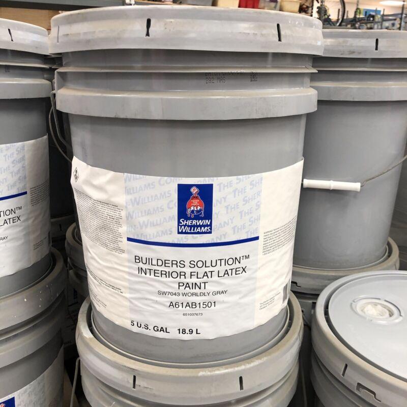 5 Gallon Sherwin Williams GRAY Paint - Builders Solution Interior Flat Latex