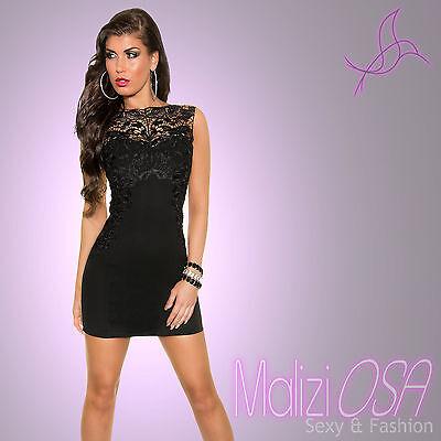 5e054c385b93 Mini Abito Tubino nero Pizzo Vestito DONNA Sera Party Elegante vestitino  Sexy