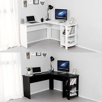 L-shaped Corner Computer Desk Workstation PC Table w/ Shelves Home Office Study