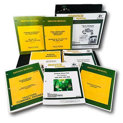 Service Manual Parts Catalog Set For John Deere 720 730 Diesel Tractor Shop Ovhl