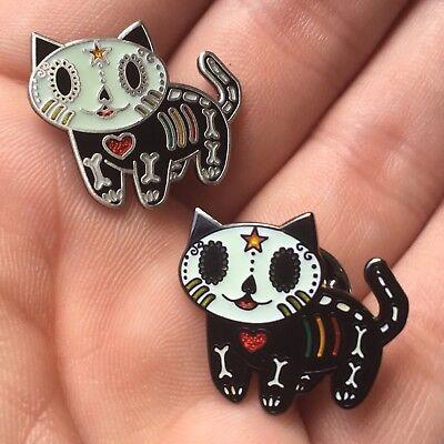 Dia De Los Muertos Cat (Set Of 2 Dia de Los Muertos Gato Day Of The Dead Kitty Cat Label Pins)