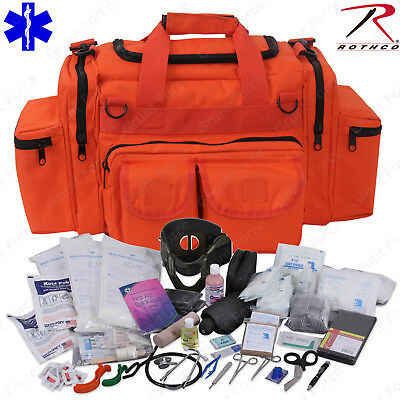 Deluxe Orange Emtems Medic Bag With Supplies - Rothco Emt Medical Trauma Kit