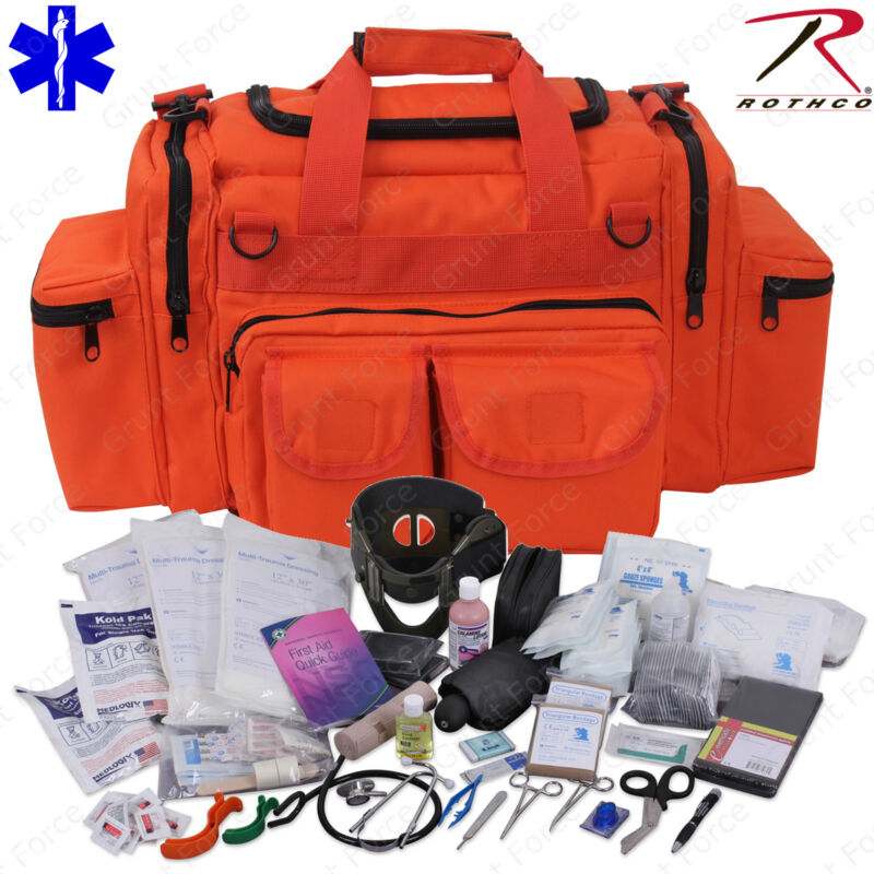 Deluxe Orange EMT/EMS Medic Bag With Supplies - Rothco EMT Medical Trauma Kit