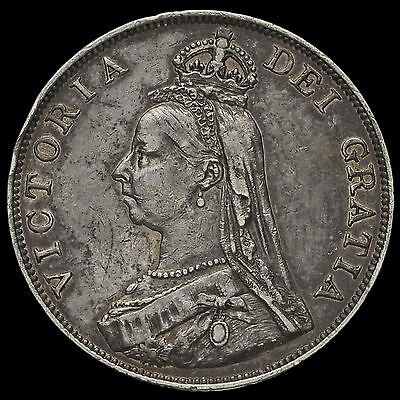 1889 Queen Victoria Jubilee Head Silver Double Florin, VF