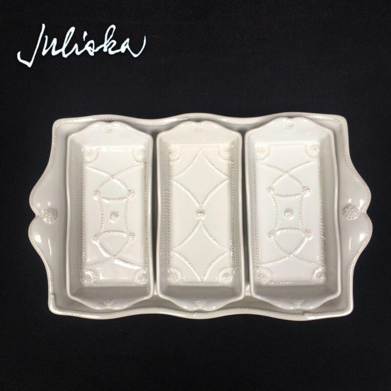 Juliska Jardins Du Monde Villandry Triple Server Set Whitewash Tray Platter