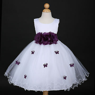 White/Plum Purple Wedding Flower Girl Dress Pageant Gown 6M 12M 18M 2 4 6 8 10 - Plum Girls Dresses