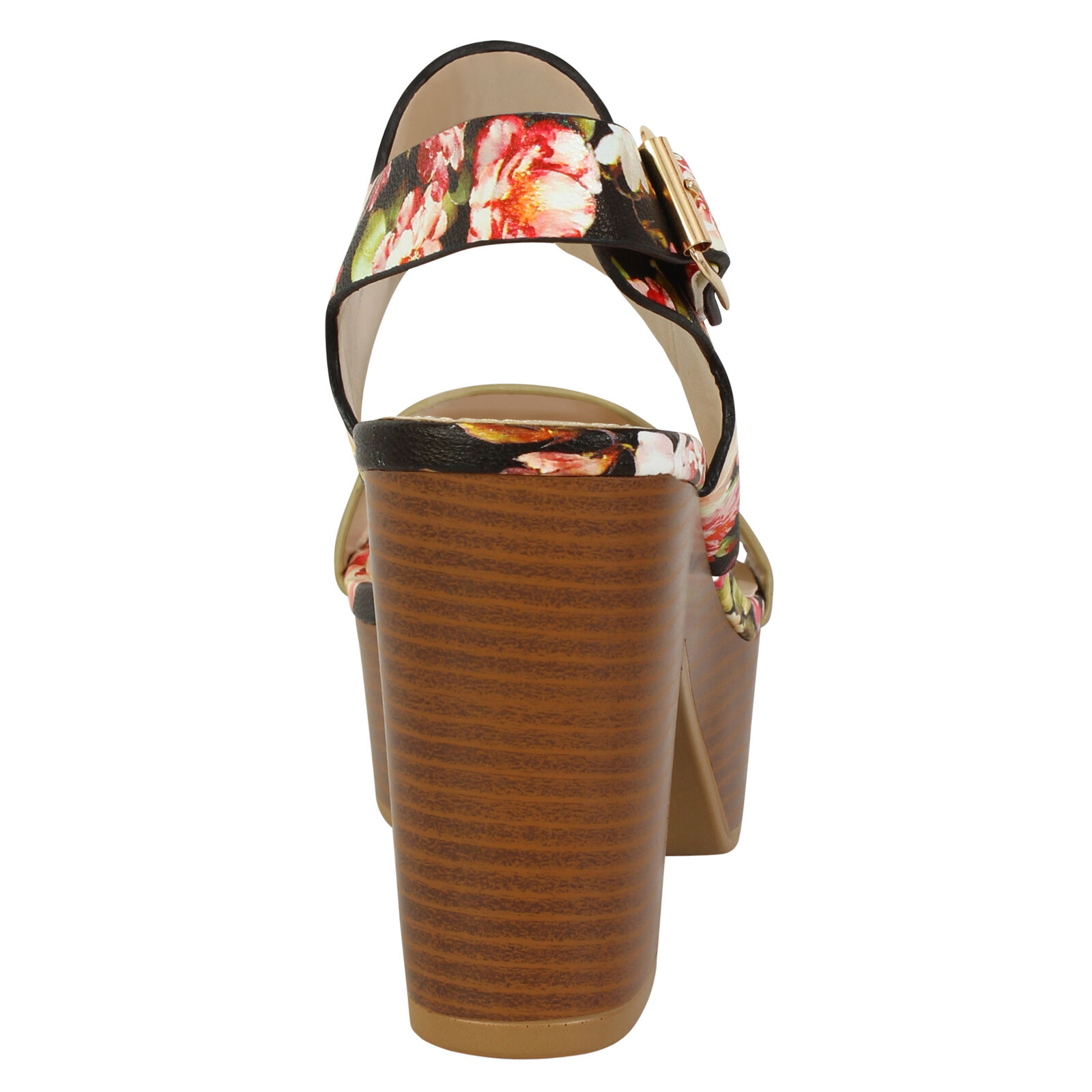 Womens Ladies Flowery Shinny Strapped Cork Platform High Heels Summer Sandals