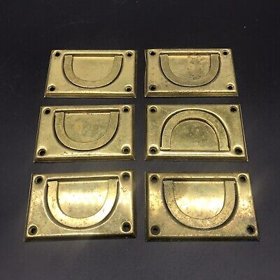 Set Of 6 Pressed Brass Campaign Style Cabinet/Drawer Handle Pulls