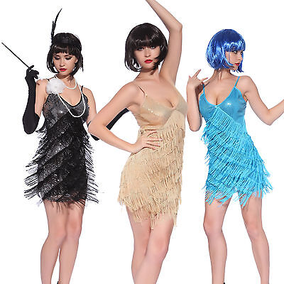 Vintage 1920s Flapper Girl Sequin Fringed Costume Cocktail Party Dance Dress - 1920 Costumes