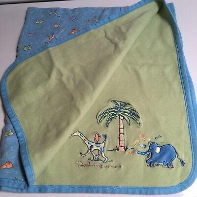 CARTER'S John Lennon Musical Parade Blue Green Reversible Baby Blanket Lovey