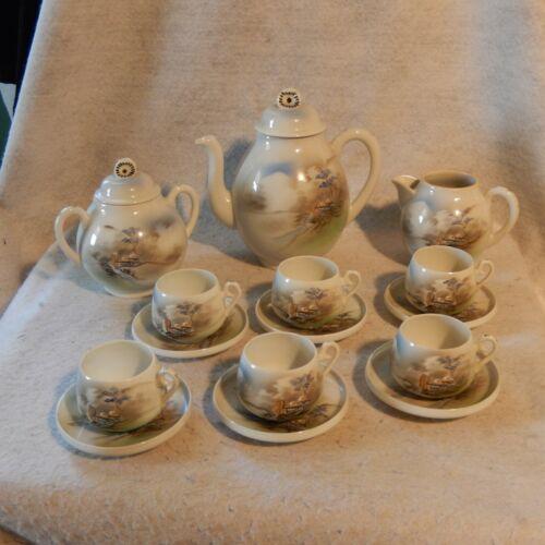 15 Pc Japanese LITHOPHANE Tea Set Geisha Uchida Nippon? Vintage Porcelain