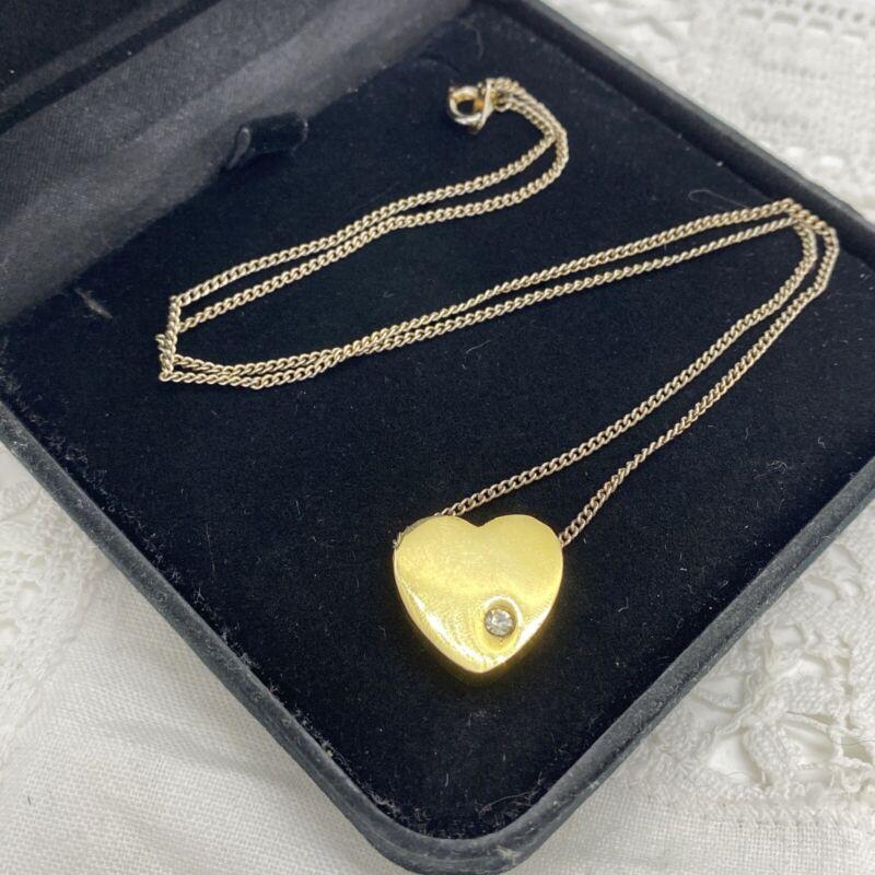 VINTAGE Heart Pendant Necklace Gold Tone & Silver Tone Chain Retro Sparkly Love