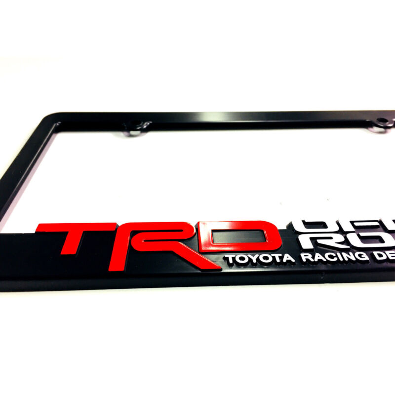 Toyota TRD Red 4X4 Stainless Steel Black License Plate Frame Caps