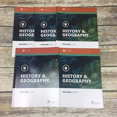 Alpha Omega LifePac History & Geography 7th Grade Student Books Unit 6-10 Grade Lifepac History Unit