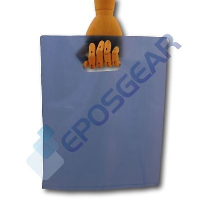 100 Medium Blue Punch Out Handle Gift Fashion Party Market Plastic Carrier Bags