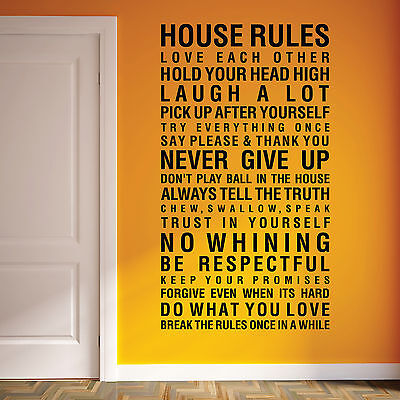 House Rules Family Love Vinyl Art Wall Stickers, Wall Quotes, Wall Decals 089