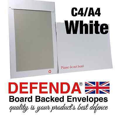 10 WHITE C4 A4 Size STRONG BOARD BACKED Postal Envelopes Quality Hard Card Back