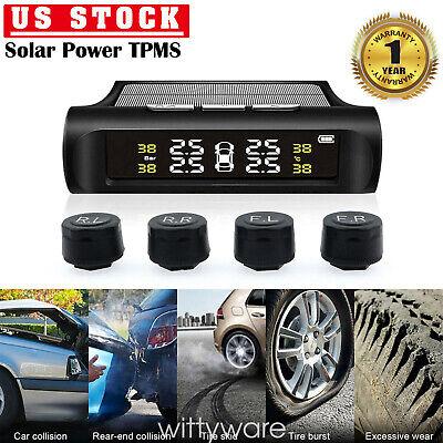 Car Tire Pressure Monitoring System LCD Solar Wireless TPMS  4 External Sensors
