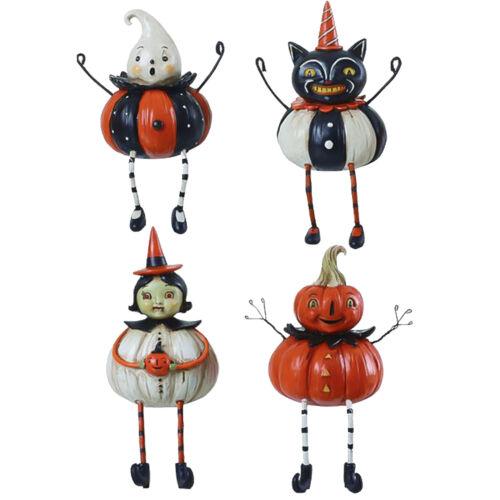 Set/4 Johanna Parker Cat Pumpkin Witch Ghost Retro Vntg Halloween Sitter Decor