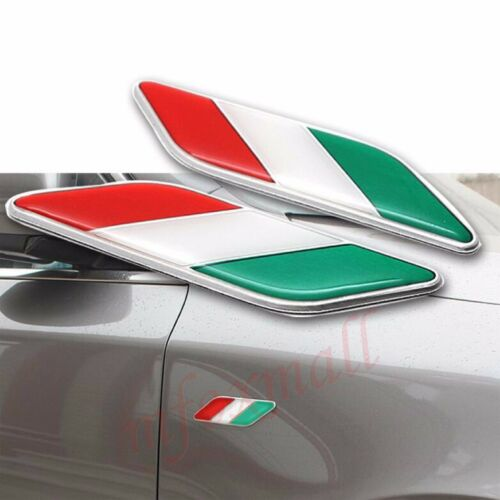 2X Chrome Car Accessory Fender Trim 3D Decal Sticker IT Italy Flag Emblem Badge
